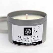 MILS & BOO FRESH CUT ROSES SMALL CANDLE TIN