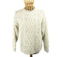 100% Wool Roll Collar Aran Jumper